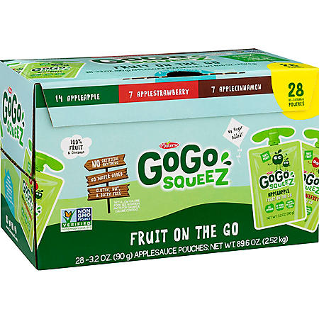 GoGo squeeZ Applesauce, Apple/Cinnamon/Strawberry (3.2 oz., 28 ct.)