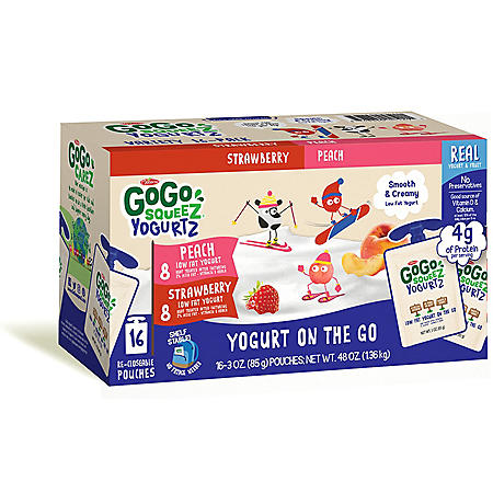 GoGo SqueeZ YogurtZ, Strawberry/Peach (16 ct.)