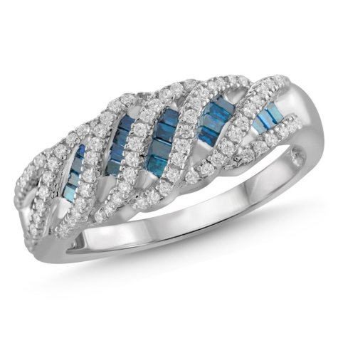 0.50 ct. t.w. Blue and White Diamond Strip Ring in Sterling Silver