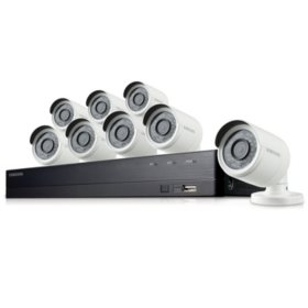 Samsung 8-Channel 1080p All-in-One Security System with 2TB Hard Drive and 8x 1080p Bullet Cameras with 82' Night Vision