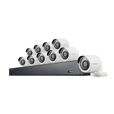 Samsung 16 Channel 4MP Security System with 2TB Hard Drive, 10 Super HD Bullet Cameras, and 82' Night Vision