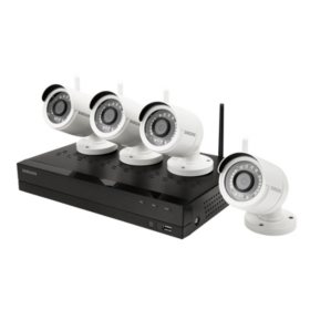 Samsung 4-Channel 1080p NVR Surveillance System with 1TB Hard Drive, 4-Camera 1080p Wireless Indoor/Outdoor Cameras