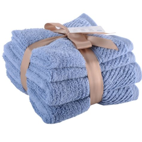 LUX  4PC H&W BLUE HAND TOWEL