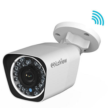 LaView 2MP Weatherproof Wi-Fi IP Surveillance Bullet Camera with PoE, Motion Detection, and 100' Night Vision