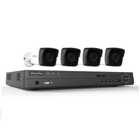 LaView 8 Channel 4K IP NVR Security System with 2TB Hard Drive, (4) Super HD Bullet Cameras with 100' Night Vision, and free remote viewing