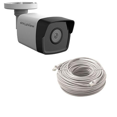 LaView 4MP Weatherproof IP Surveillance Bullet Camera with PoE, Motion Detection, and 100' Night Vision with 100' Cat5e Cable