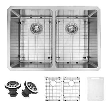 VIGO 29-inch Undermount Stainless Steel 16 Gauge Stainless Steel Double Kitchen Sink with Rounded Edge, Grids, and Strainers