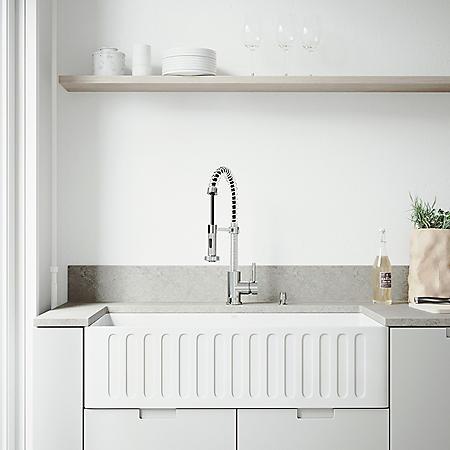 "VIGO 36"" Matte Stone Farmhouse Kitchen Sink"
