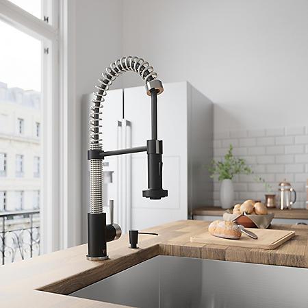 VIGO Edison Pull-Down Spray Kitchen Faucet (Stainless Steel/Matte Black)