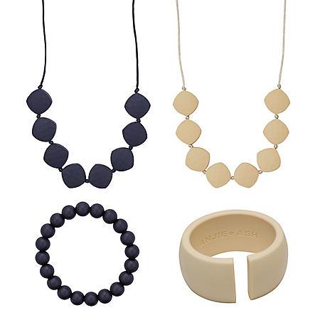 Anjie + Ash Antoinette Teething Necklace and Bracelet Set