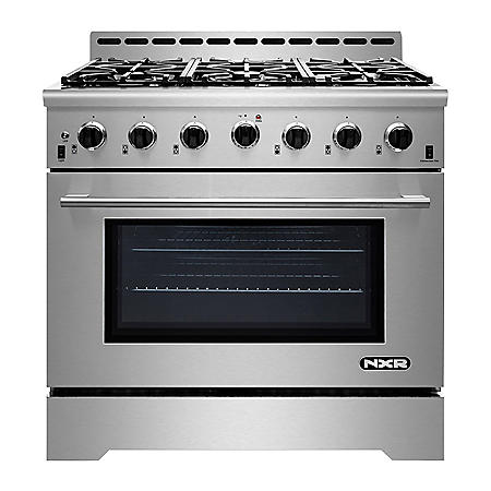 "NXR Stainless Steel 36"" Gas Range with LED"