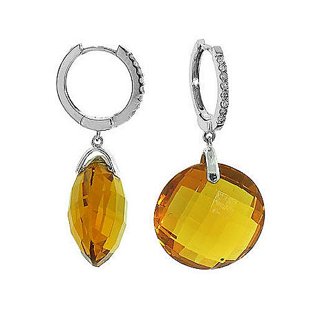 27 ct. t.w. Yellow Quartz Gemstone and Pave Diamond Drop Earrings