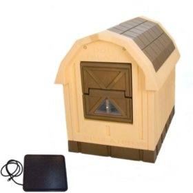 """ASL Solutions Deluxe Insulated Dog Palace with Floor Heater, Brown (38.5"""" x 31.5"""" x 47.5"""")"""