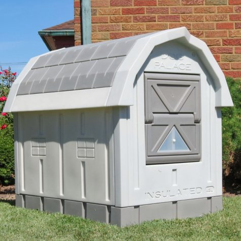"""ASL Solutions Deluxe Insulated Dog Palace with Floor Heater, Grey (38.5"""" x 31.5"""" x 47.5"""")"""