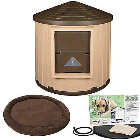 ASL Solutions Insulated Colossal Round Barn Dog House CRB Dog Palace with Floor Heater and Bed (Choose your Color)