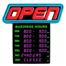 Green Light Innovation LED Spectrum Horizontal Business Hours Open Sign