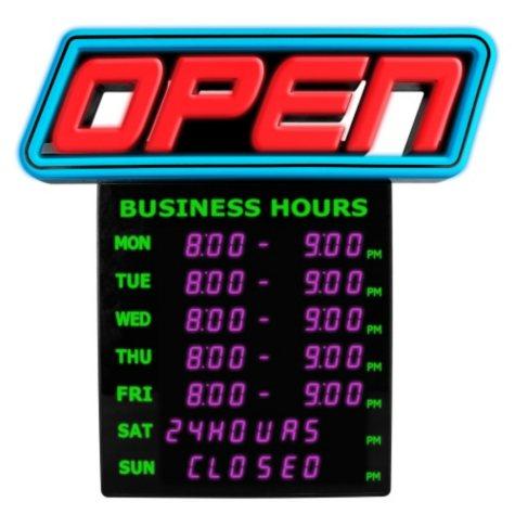 Green Light Innovation LED Spectrum Horizontal Business Hours Open Sign