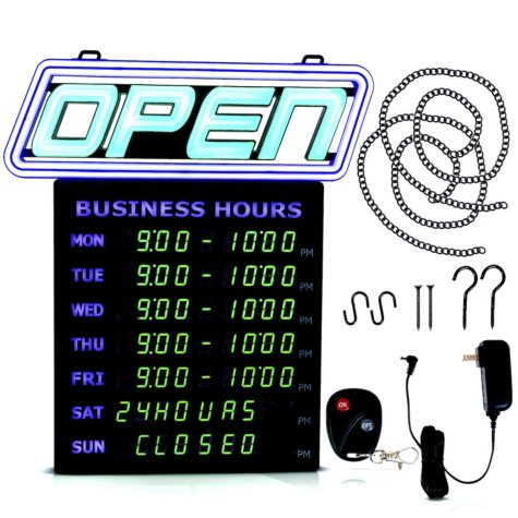 Green Light Innovations Color Customizable Bluetooth Controlled OPEN Sign with Digital Business Hours