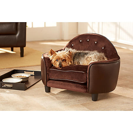 Enchanted Home Pet Ultra Plush Headboard Sofa Bed, Pebble Brown, Small Dogs Up To 10 lbs