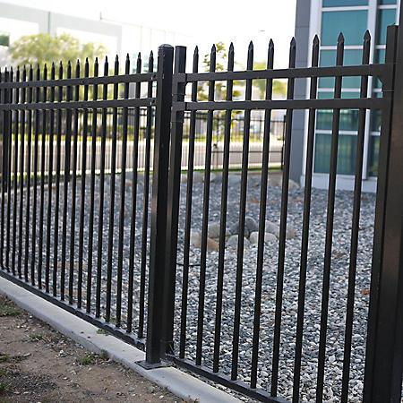 Aspen Style 3-Rail Steel Fence Gate, Powder-Coated Black (4'W x 5'H)