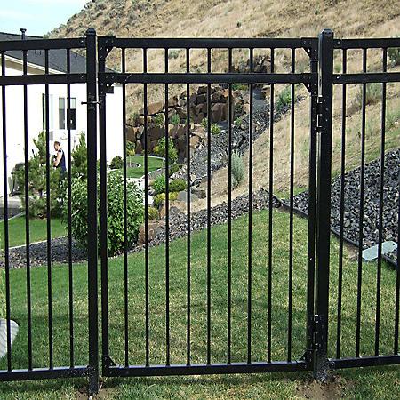 4' W x 5' H Traditional Series - 3 Rail Steel Gate Kit - Flat Top/Flat Bottom, Powder-Coated Black