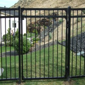 4' W x 5' H Traditional Series - 3 Rail Steel Gate Kit - Flat Top/Flat Bottom, Powder-Coated Black