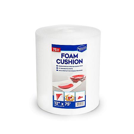"""Square Built, Foam Cushion Roll, 12"""" x 75', White"""