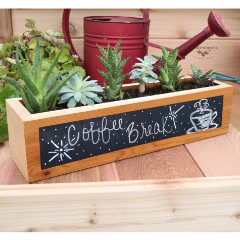 Set of 3 Rectangular Succulent Planters with Chalkboard - 4x4x16