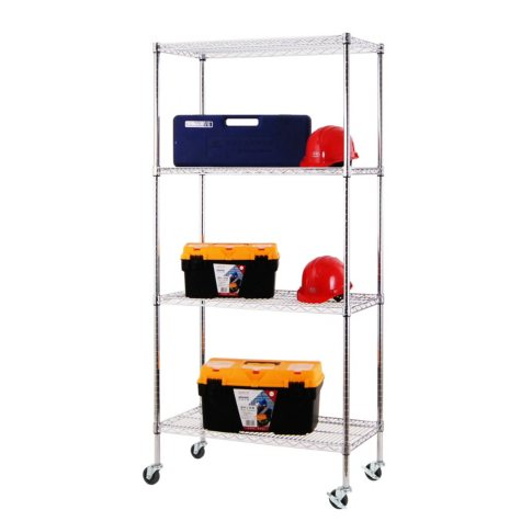 Excel NSF Multi-Purpose 4-Tier Wire Shelving Unit with Casters, 36 in. x 18 in. x 77 in. (Chrome or Black)