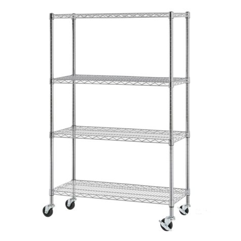 Excel NSF Multi-Purpose 4-Tier Wire Shelving Unit with Casters, 36 in. x 14 in. x 59 in. (Chrome)