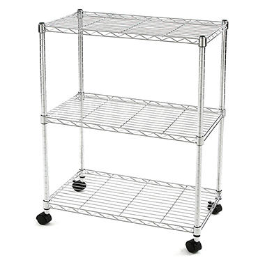 Excel NSF Multi-Purpose 3-Tier Wire Shelving Unit with Casters, 24 in. x 14 in. x 28 in. (Chrome or Black)