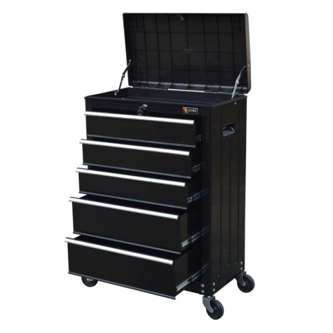 """Excel 22"""" Roller Tool Cabinet with 5 Ball Bearing Drawers (Black or Black/Red)"""