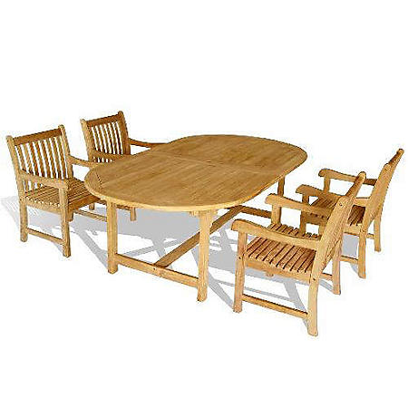 Piemonte Teak Oval Extendable Dining Set - 5 pc.
