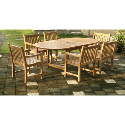 Grade-A Piemonte Teak Oval Extendable Dining Set - 7 pc.