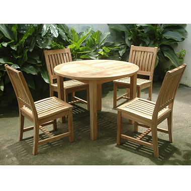 Grade A Teak Carmel 5 Piece Dining Set With Round Table