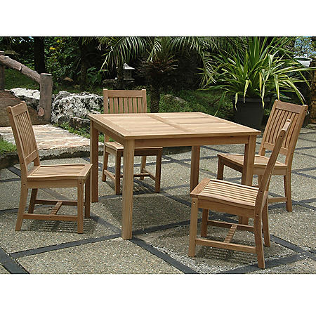 Grade-A Teak Alba 5-Piece Dining Set with Square Table