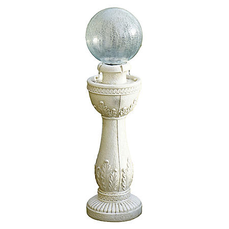 Glass Crackle Ball Fountain - White Stone