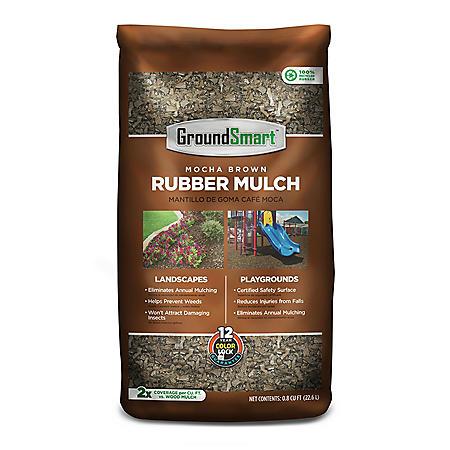 GroundSmart Rubber Mulch Mocha Brown 78.4 cu ft (98 Bags/.8cuft)