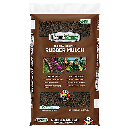 GroundSmart Rubber Mulch - Mocha Brown (1.25 cu ft Bag)