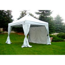 UnderCover 10' x 10' Commercial Vending Hybrid Aluminum Instant Canopy with Polyester Curtain-Walls