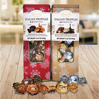 Italian Truffles with Fine Italian Chocolate Bipack Tin Box (2 pk.)
