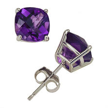 2.0 ct. t.w. Cushion Cut Amethyst Stud Earrings in 14K White Gold