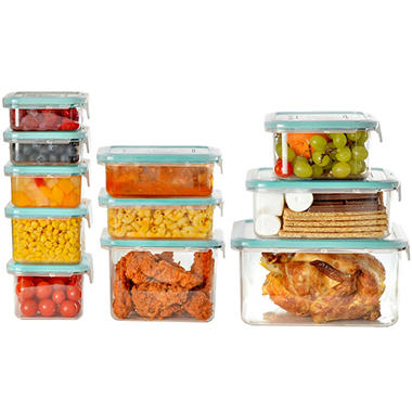 Wellslock Classic One Lock 22 Piece Food Storage Container Deluxe Pack  (Assorted Colors