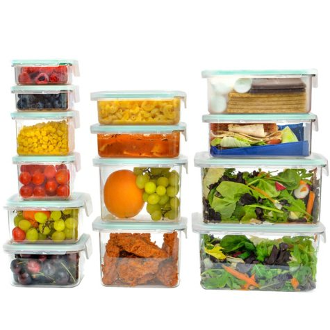 Wellslock Classic One-Lock 28-Piece Food Storage Container Premium Pack (Assorted Colors)