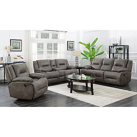 . Harvey Reclining Sofa  Console Love Seat and Rocker Recliner  Power