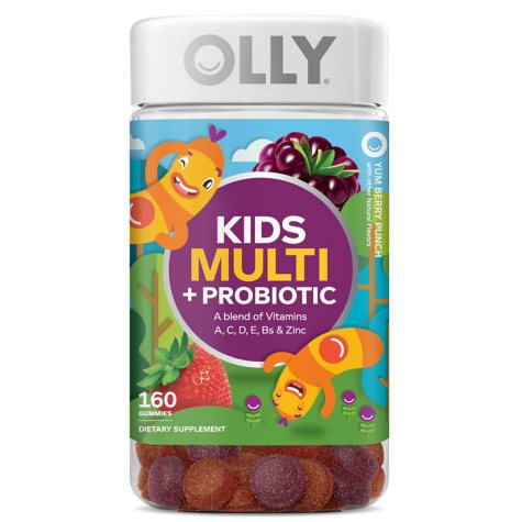 Lil' Ollys Kids' Multi + Probiotic Yum Berry Punch Vitamin Gummies (160 ct.)