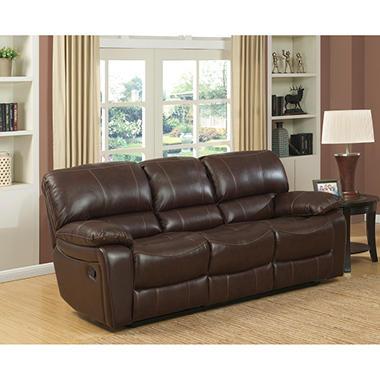 delancy leather reclining sofa - sam's club
