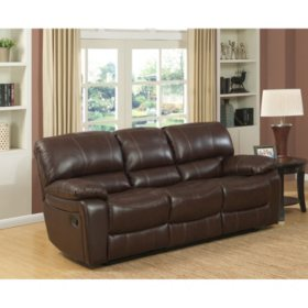 Delancy Leather Reclining Sofa Sam S Club