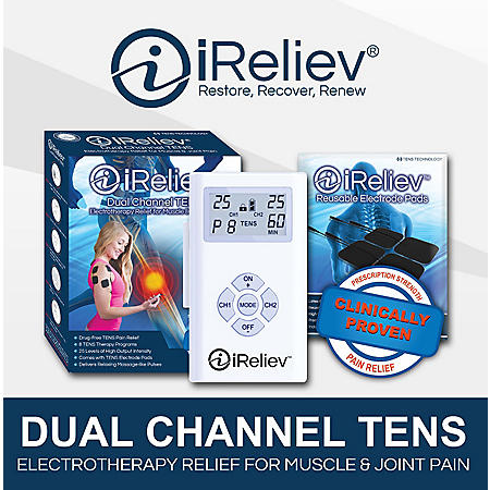 iReliev Dual Channel TENS Pain Relief System with 8 Electrode Pads