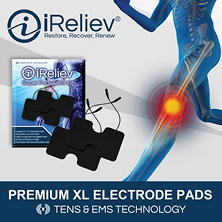 iReliev Electrode Pads Refill Kit with 6 Large TENS or EMS Pads